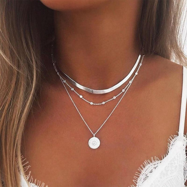 Silver Color Bohemia Alloy Multilayer Necklace Chain Women Collares Necklace