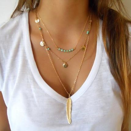 Fashion Gold Color Multilayer Coin Tassels Lariat Necklaces