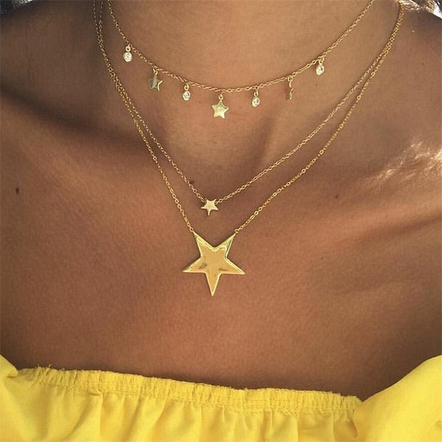 Bohemia Multilayer Pentagram Star Round Tassels Pendant Gold Necklace