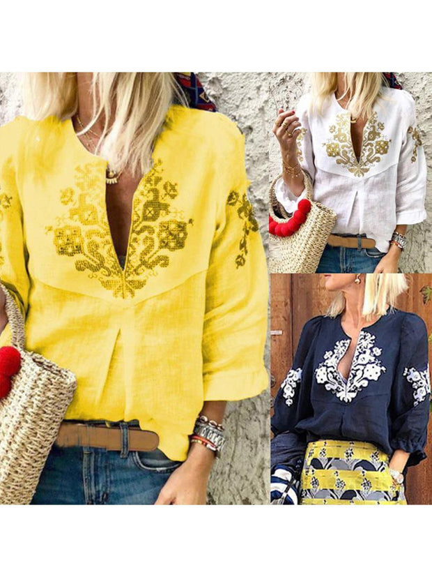 Summer Women Ruffles V Neck Printed Casual Blouses