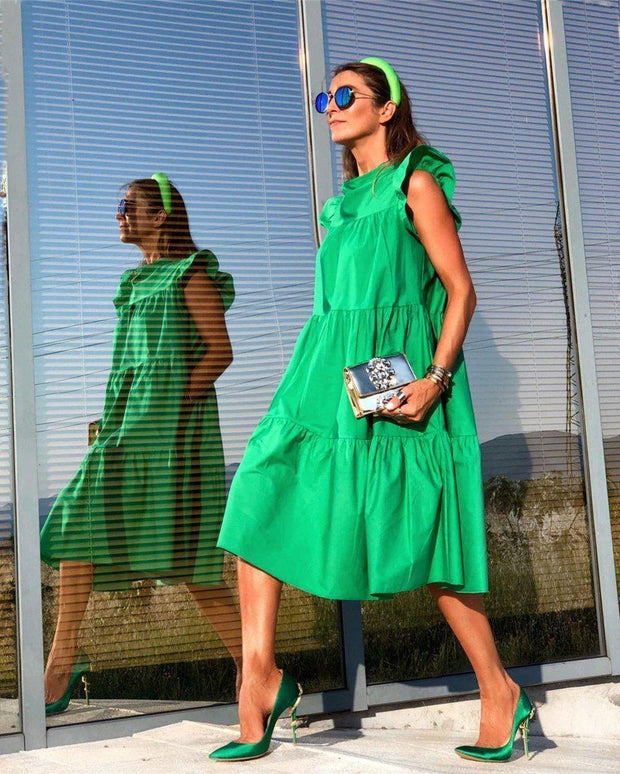 Ruched Short Sleeve Loose Green Midi Dress