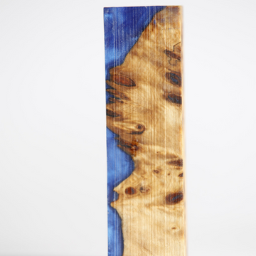 Handle Block - Resin - Poplar burl / Sky Blue Epxoy Resin