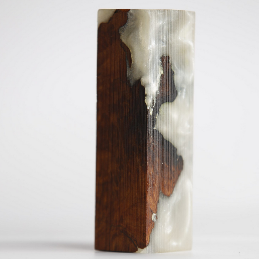 Handle Block - Resin - Brown Mallee Root Burl w White Pearl Epoxy Resin