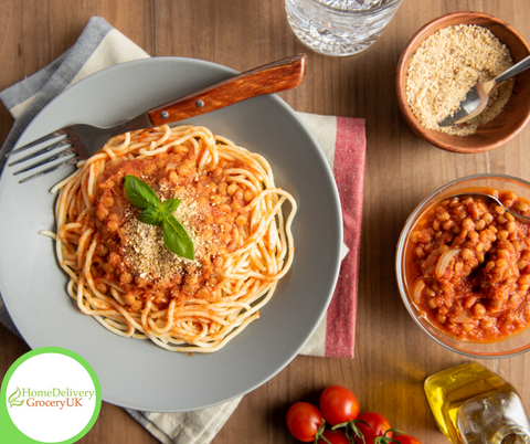 quorn mince tomato vegetarian vegan spaghette bolognaise store cupboard supplies uk free delivery