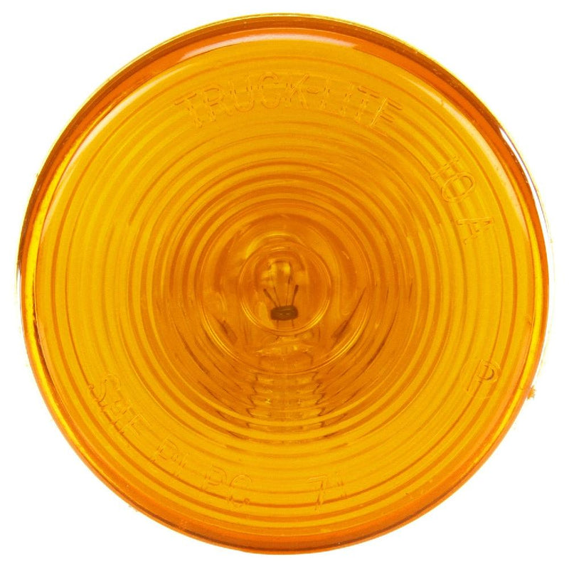 "10 Series Incandescent Yellow 2.5"" Round Marker Clearance Light, PL-10 Connection & Grommet Mount 