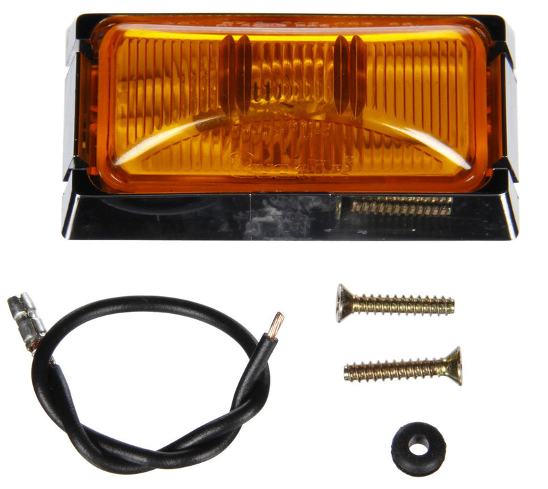 "15 Series Yellow Incandescent 1""x2"" Rectangular Marker Clearance Light, .156 Bullet Hot Wire & ABS Bracket Mount 