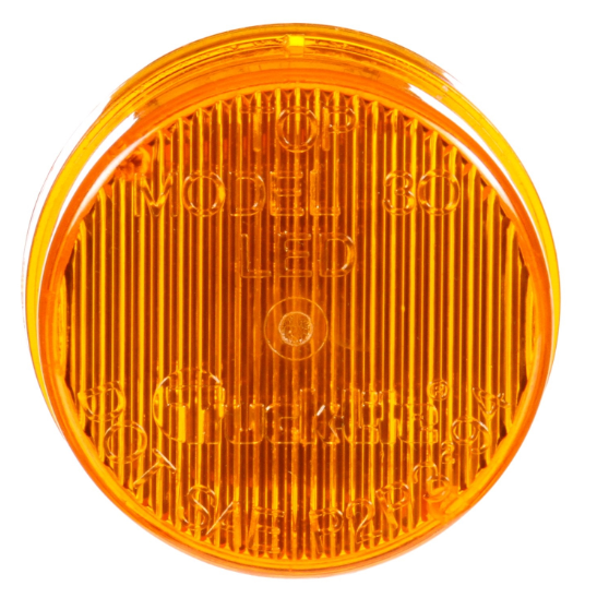 "30 Series Yellow LED 2"" Round Maker Clearance Light, Black PVC Grommet Mount 