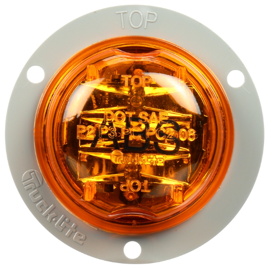 "30 Series Yellow LED 2"" Round Marker Clearance Light, Gray Polycarbonate Flange Mount 
