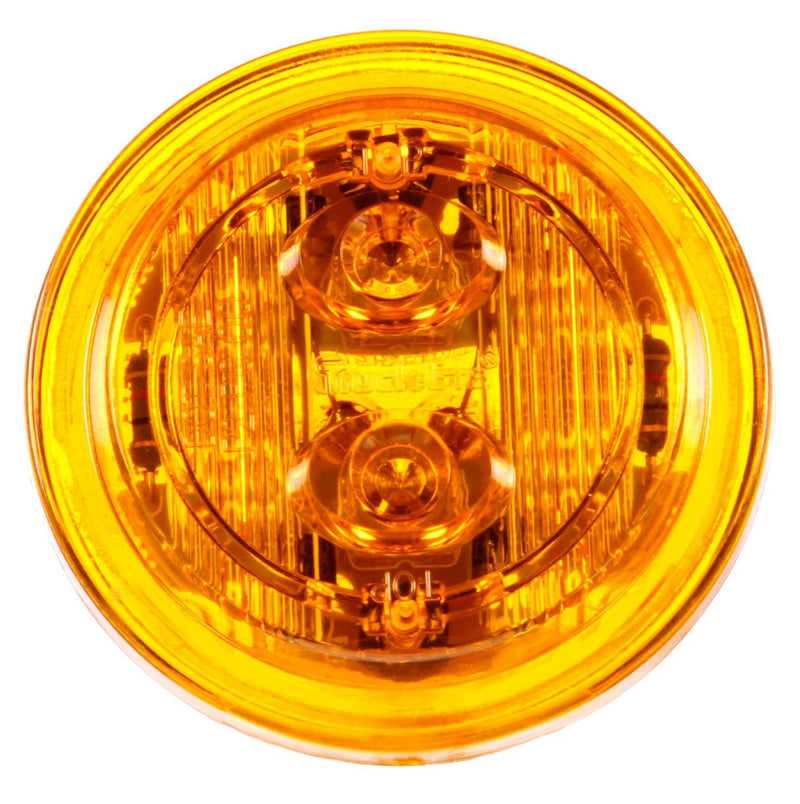 "30 Series Low Profile Yellow LED 2"" Round Marker Clearance Light, PL-10 & 2 Screw Mount 