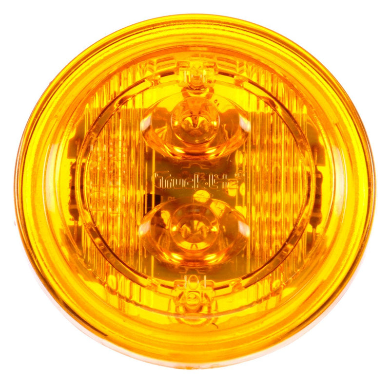 "30 Series Low Profile Yellow 2"" Round Marker Clearance Light, Fit 'N Forget M/C & Grommet Mount 