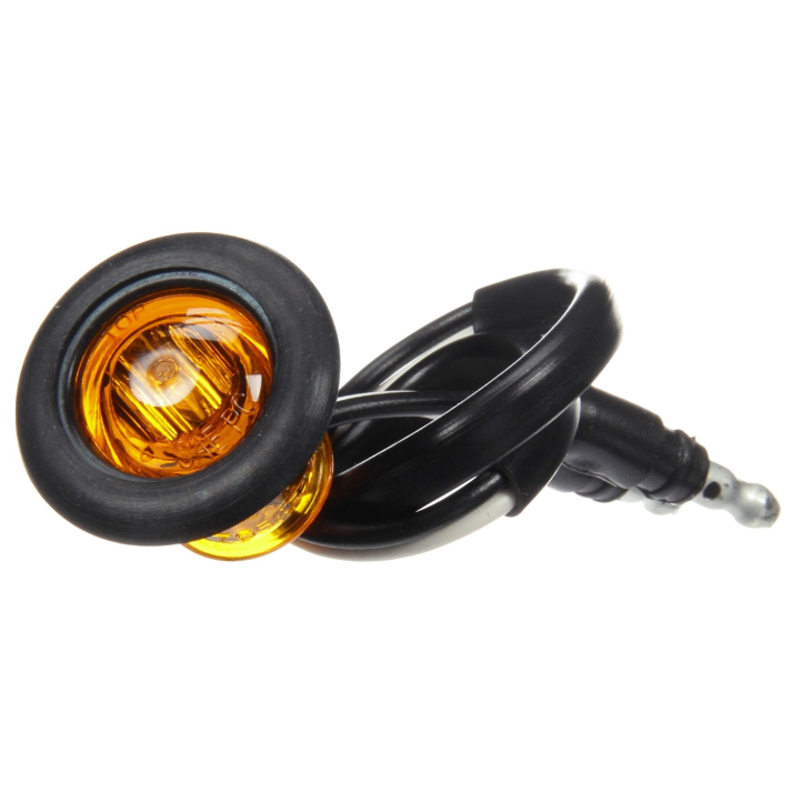 "33 Series Yellow 3/4"" Round Marker Clearance Light Kit, Hardwired Connection & Gromment Mount 