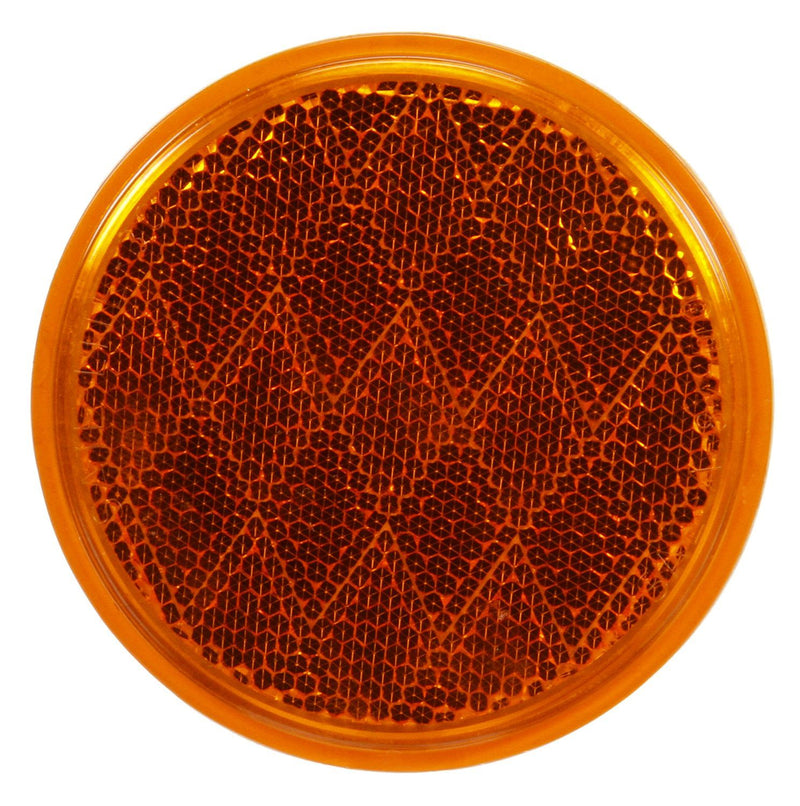 "Signal-Stat 3-1/8"" Round Yellow Reflector, Adhesive Mount 