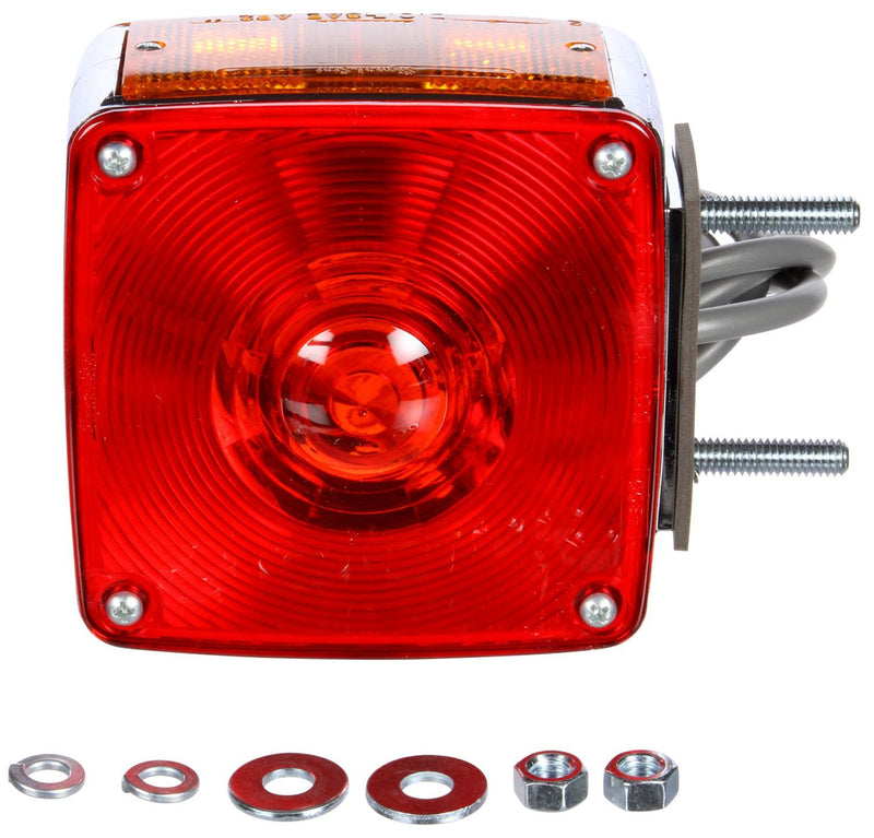"Signal-Stat Red/Yellow Incandescent 4"" Square Pedestal Light for Vertical Mount, 2 Stud Mount 