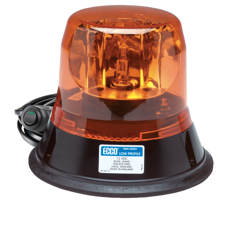 Low Profile Amber Rotating LED Beacon Light, Magnet Mount | ECCO 5813A-MG