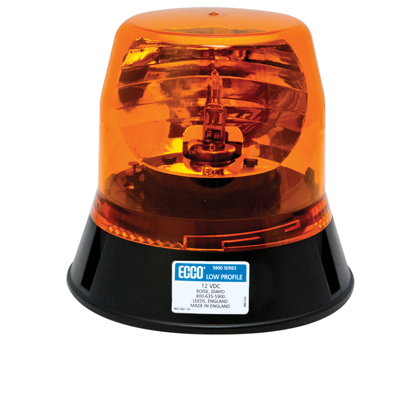 Low Profile Amber Rotating LED Beacon Light, 3 Bolt Mount | ECCO 5813A