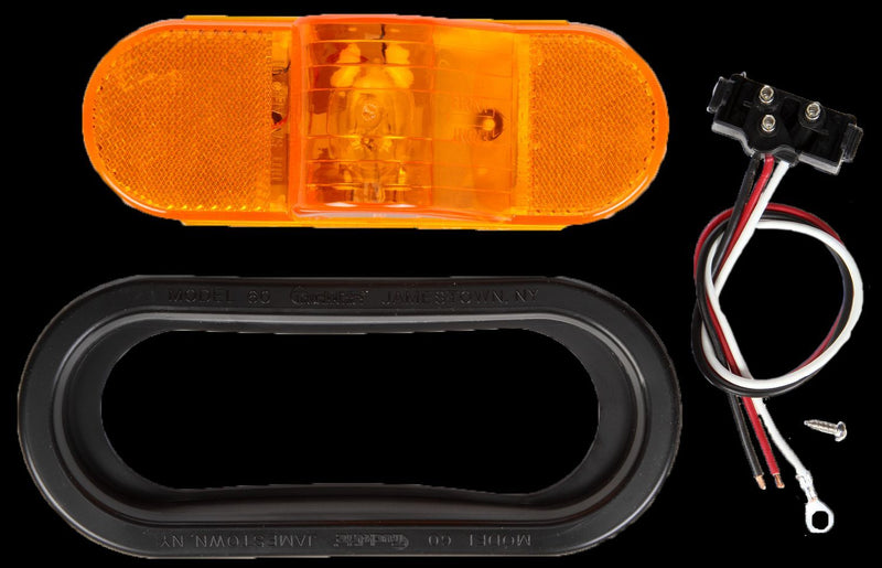 "60 Series Yellow Incandescent 6"" Oval Side Turn Signal Light, PL-3 w/ Black Grommet Mount 
