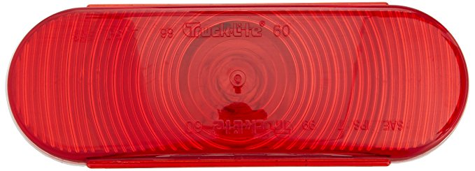 "Super 60 Incandescent Red 2"" X 6"" Oval Stop/Turn/Tail Light, PL-3 Connection & Grommet Mount 