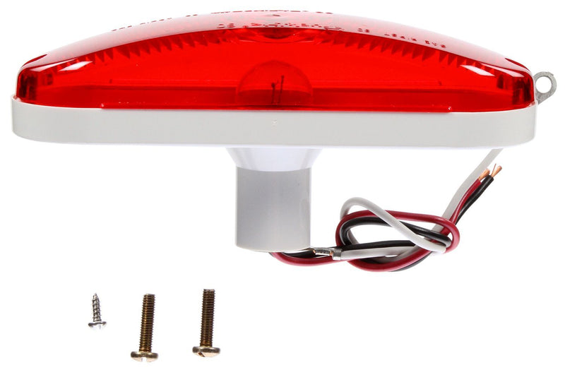 "60 Series Red Incandescent 6"" Oval Stop/Turn/Tail Light Kit, Hardwired & Grommet Mount Kit 