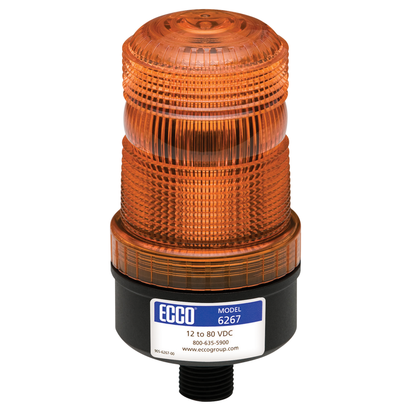 Industrial LED Amber Beacon Strobe Warning Light, 1/2 Pipe Mount | ECCO 6267A