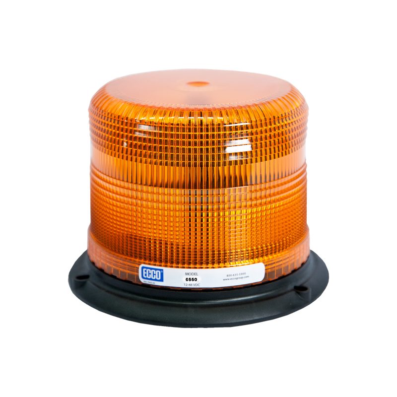 Low Profile Amber Beacon Strobe Warning Light, 3 Bolt Mount | ECCO 6550A
