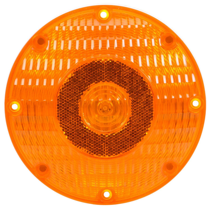 "91 Series Yellow Incandescent 7"" Round Front/Park/Turn Light Kit, PL-3 Connection w/ 4 Screw Mount 
