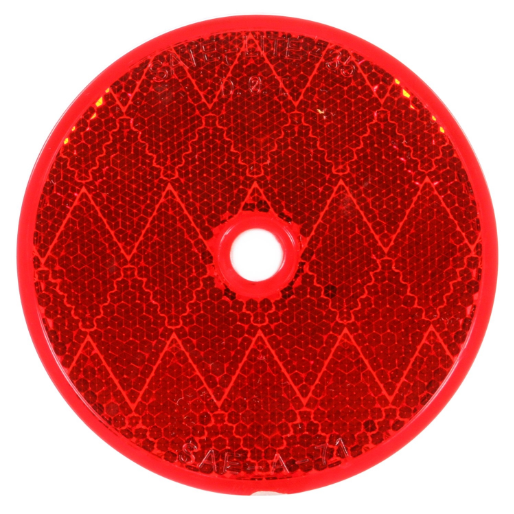 "Red 3"" Round Reflector, 1 Screw/Nail/Rivet Mount 