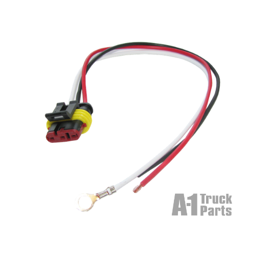 "Weathertight 3-Wire Pigtail with 10"" Leads, Ring Terminal on Ground and Stripped Wire Ends on Power Leads 