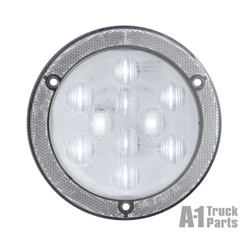 "4"" Round 10-LED Clear Back-Up Light with Built-In Reflex Flange Mount, 12V 