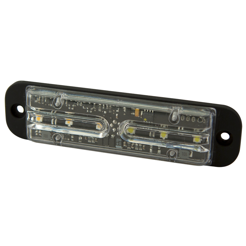 "4.8"" Amber/White Bright & Versatile 6-LED Warning Light, 29 Flash Pattern 