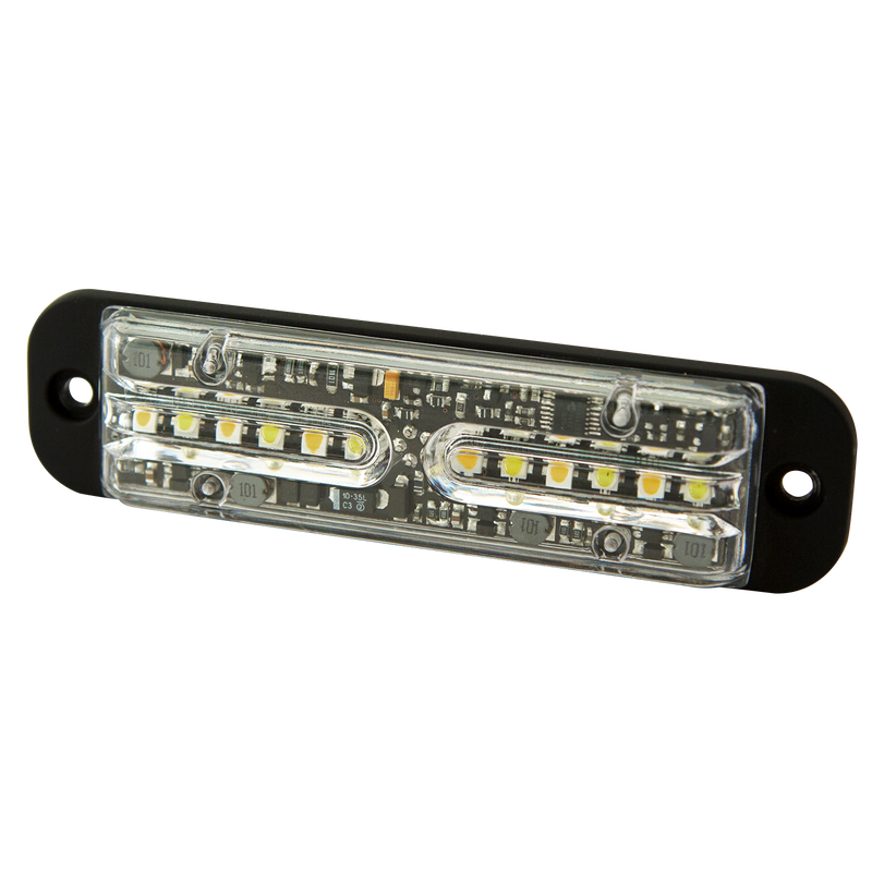 "4.8"" Red/White Bright & Versatile 12-LED Warning Light, 69 Flash Pattern 