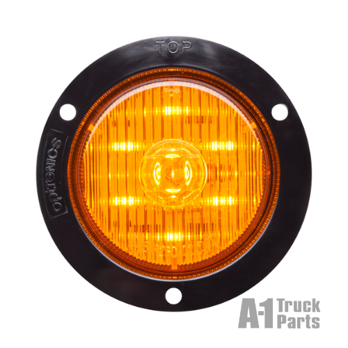 "7-LED 2.5"" Round Yellow Marker/Clearance Light, Weathertight Connection for Recess Flange Mount 