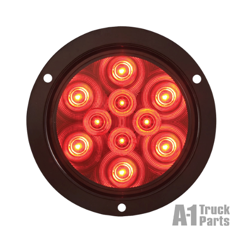 "4"" Round 12-LED Red Stop/Turn/Tail Light, PL-3 Connection for Grommet Mount 