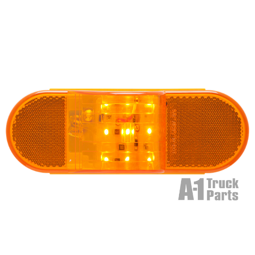 "6"" Oval 9-LED Yellow Side Turn Signal/Marker Light, PL-3 Connection for Recess Grommet Mount 