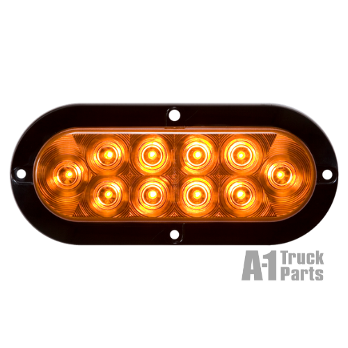 "6"" Oval 10-LED Yellow Parking/Rear Turn Signal, Hard Wired for Flange Surface Mount 