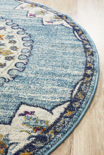 Load image into Gallery viewer, Babylon 202 Blue Round Rug