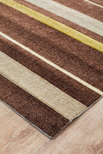Load image into Gallery viewer, City Stylish Stripe Rug Brown Green