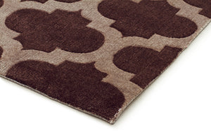 City Trellis Stylish Design Rug Brown