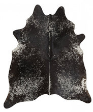 Load image into Gallery viewer, Exquisite Natural Cow Hide Salt & Pepper Black