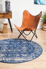 Load image into Gallery viewer, Evoke Oasis Navy Transitional Round Rug