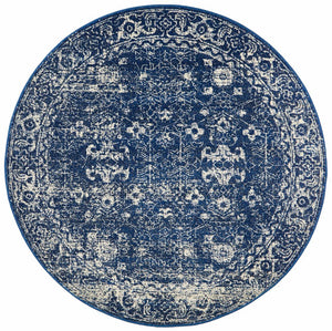 Evoke Oasis Navy Transitional Round Rug