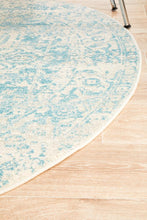 Load image into Gallery viewer, Evoke Glacier White Blue Transitional Round Rug