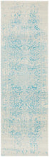 Load image into Gallery viewer, Evoke Glacier White Blue Transitional Runner Rug