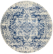 Load image into Gallery viewer, Evoke Horizon White Navy Transitional Round Rug