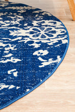 Load image into Gallery viewer, Evoke Donna Navy Transitional Round Rug