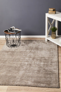 Havana Wool & Silky Viscose Dark Natural Rug