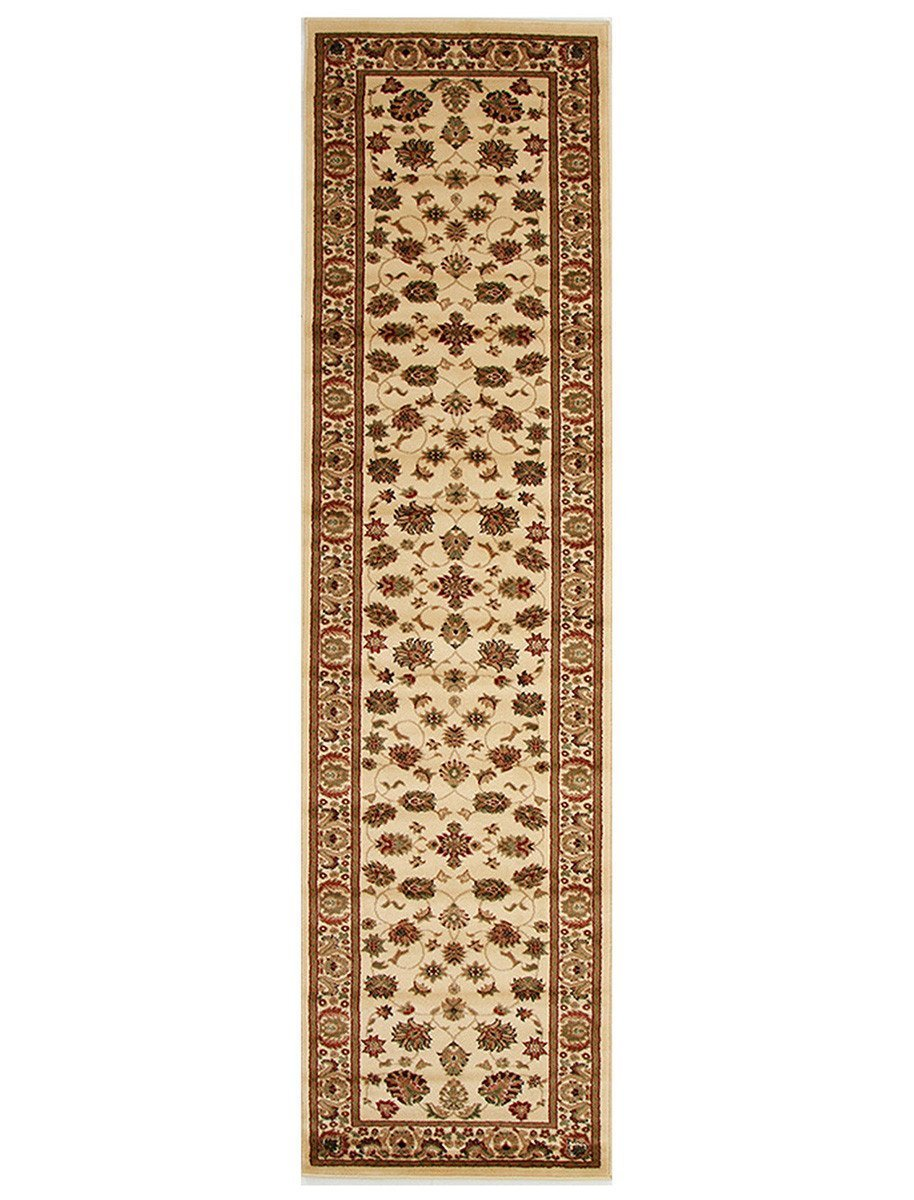 Istanbul Traditional Floral Pattern Runner Rug Ivory