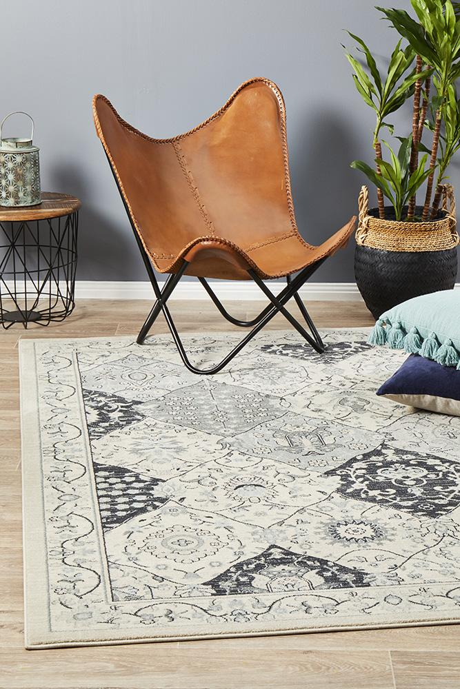 Jewel Panel Design 802 Blue Navy Bone Rug