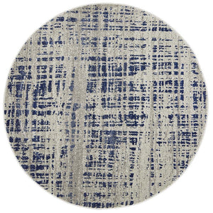 Mirage Ashley Abstract Modern Blue Grey Round Rug