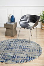 Load image into Gallery viewer, Mirage Ashley Abstract Modern Blue Grey Round Rug