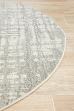 Load image into Gallery viewer, Mirage Ashley Abstract Modern Silver Grey Round Rug